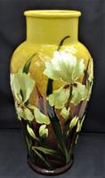 Large Burmantofts Faience Vase, Hand Painted in Barbotine or Impasto c.1890, British Art Pottery