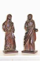 Pair of Early Religious Wood Carvings English c.1670