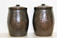 Pair of Japanese Bronze Tea Cannisters of Baluster Form with a Rich Dark Patina and a Textured Finish Meiji Period c.1900