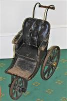 Childs Early Perambulator Ideal for a Collector of Antique Dolls. This Perambulator Is a Charming Example of a Victorian Pram