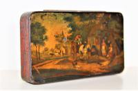 Finely Hand Painted Tole Ware Tobacco Box English c.1830 to 1860