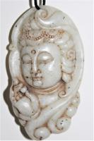 Very Finely Carved Chinese Jade Pendant of a Deity C.1880 To 1920