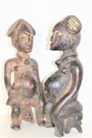 Pair of Finely Carved Wood Yoruba Figures with Elaborate Headdress Both Seated on Turtles (2 of 8)