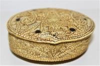 Rare 15th Century Carved Bone Hinged Box Dated 1488 of Oval Form with Overall Carved Decoration