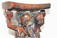 Finely Carved African Hardwood Luba Hemba Double Figural Headrest with a Lovely Patina (5 of 10)