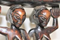 Finely Carved African Hardwood Luba Hemba Double Figural Headrest with a Lovely Patina (9 of 10)