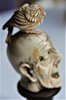 Exquisitely Carved 19th Century Dieppe Small Bone Memento Mori with Flesh To One Side of the Skull 10Cm Overall (5 of 7)