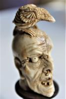 Exquisitely Carved 19th Century Dieppe Small Bone Memento Mori with Flesh To One Side of the Skull 10Cm Overall (2 of 7)