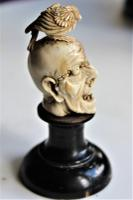 Exquisitely Carved 19th Century Dieppe Small Bone Memento Mori with Flesh To One Side of the Skull 10Cm Overall (3 of 7)