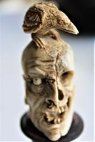 Exquisitely Carved 19th Century Dieppe Small Bone Memento Mori with Flesh To One Side of the Skull 10Cm Overall (4 of 7)