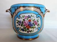 Antique Sevres Cache Pot Celeste Blue Porcelain Hand Painted & Gilded C.1755