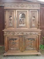 Highly Carved Breton Double Oak Buffet 1900'S Carved Panels