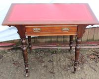 Walnut One Drawer Side Table with Red Leather Top c.1910