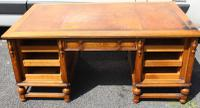 1940s Large Oak Pedestal Desk with Brown Leather Inset Original Slides