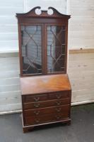 1940s Mahogany Astragal Glazed Bureaux Bookcase