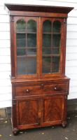 1900s Quality Mahogany Secretaire Bookcase with Key