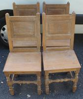 1900s Set of 4 Limed Oak Dining Chairs with Panelled Backs