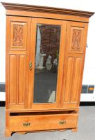 1940s Satin Walnut One Door Mirrored Wardrobe with Base Drawer and Carving (4 of 4)