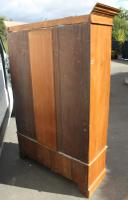 1940s Satin Walnut One Door Mirrored Wardrobe with Base Drawer and Carving (3 of 4)
