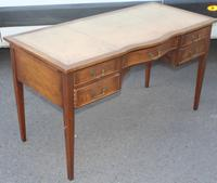 1960s Mahogany Serpentine Desk with Light Brown Leather & Slides Each End (3 of 4)