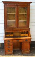 1900s Oak Rolltop Desk with Double Glazed Door Bookcase (2 of 7)