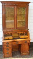 1900s Oak Rolltop Desk with Double Glazed Door Bookcase (3 of 7)