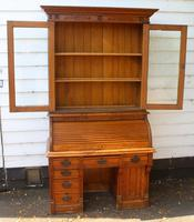1900s Oak Rolltop Desk with Double Glazed Door Bookcase (4 of 7)