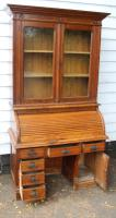 1900s Oak Rolltop Desk with Double Glazed Door Bookcase (5 of 7)