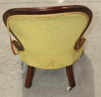 Mahogany Nursing Chair with Green Upholstery c.1910 (3 of 3)