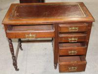 1920s Oak Desk with Red Leather Top (2 of 4)