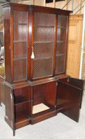 1960s Large 3 Door Mahogany Bookcase with Wire Mesh on Top Section (3 of 5)