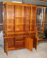 1960s Large 4 Door Yew Wood Bookcase with Glazed Top (3 of 3)