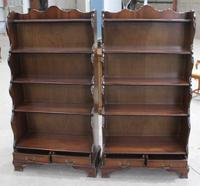 1960s Pair of Mahogany Waterfall Open Bookshelves with Drawer at Base (2 of 4)