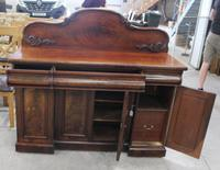 1900s Mahogany 4 Door Sideboard with 3 Drawers & Carved Back (3 of 5)