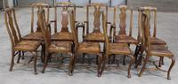 1920s Set of 8 Mahogany Queen Anne Style Chairs 6 + 2 Carvers with Pop-out Seats (2 of 4)
