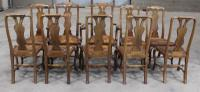 1920s Set of 8 Mahogany Queen Anne Style Chairs 6 + 2 Carvers with Pop-out Seats (3 of 4)