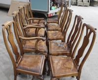 1920s Set of 8 Mahogany Queen Anne Style Chairs 6 + 2 Carvers with Pop-out Seats (4 of 4)