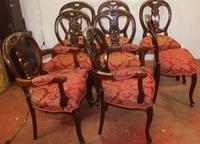 1960s Set of 8 Mahogany Ballonback Dining Chairs Red Upholstery (2 of 3)