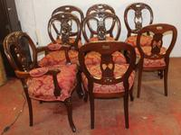 1960s Set of 8 Mahogany Ballonback Dining Chairs Red Upholstery (3 of 3)