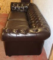 1960s Brown Leatherette 3 Seater Chesterfield Sofa (2 of 4)