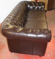 1960s Brown Leatherette 3 Seater Chesterfield Sofa (3 of 4)
