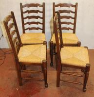1920s Set of 4 Medium Oak Ladderback Chairs with Rush Seats (2 of 3)
