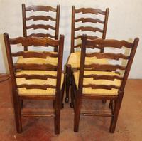 1920s Set of 4 Medium Oak Ladderback Chairs with Rush Seats (3 of 3)