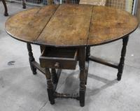 Small Oak Gateleg Table with Drawer c.1880 (2 of 7)