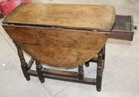 Small Oak Gateleg Table with Drawer c.1880 (5 of 7)