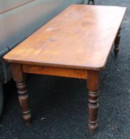 Large Pine Farmhouse Table on Turned Legs c.1900 (2 of 3)