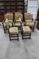 1900s Set of 8 Oak Barley Twist Chairs in Floral Upholstery. 6 + 2 Carvers (2 of 3)