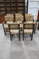 1900s Set of 8 Oak Barley Twist Chairs in Floral Upholstery. 6 + 2 Carvers (3 of 3)