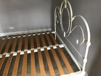 1960s Decorative Double Iron Bed Frame Painted White with Base (2 of 3)