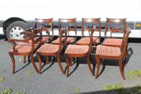 1960s Set of 8 Mahogany Bar Back Dining Chairs with Pop-out Seats 6+2 Carvers (2 of 3)